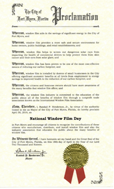 Official 2016 National Window Film Day proclamation signed by Randy Henderson, Mayor of Fort Myers, FL