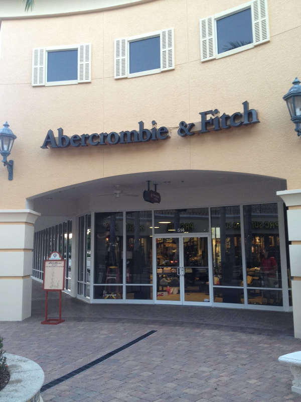 Storefront window film for Abercrombie & Fitch. Miramar Outlets. Estero
