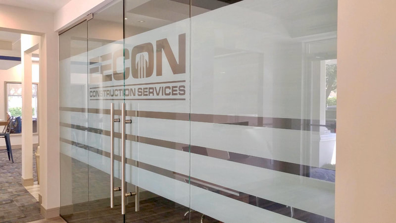 EECON Construction Services - Naples, FL with decorative window film for branding.