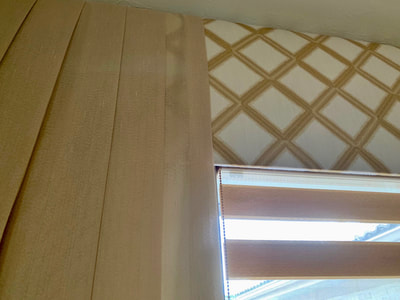 Cornice, side panel, and Hunter Douglas banded shade