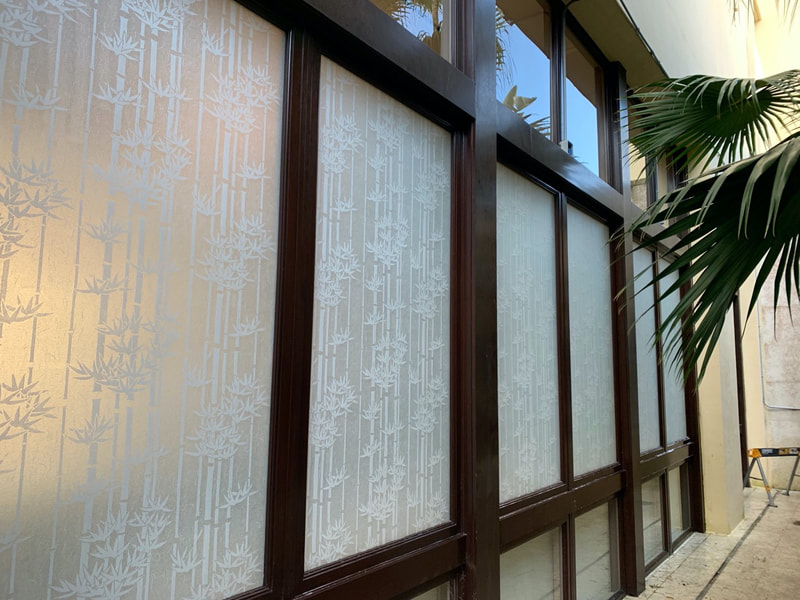 Finished windows with Frosted Bamboo window film at Hyatt Coconut Point in Bonita Springs.
