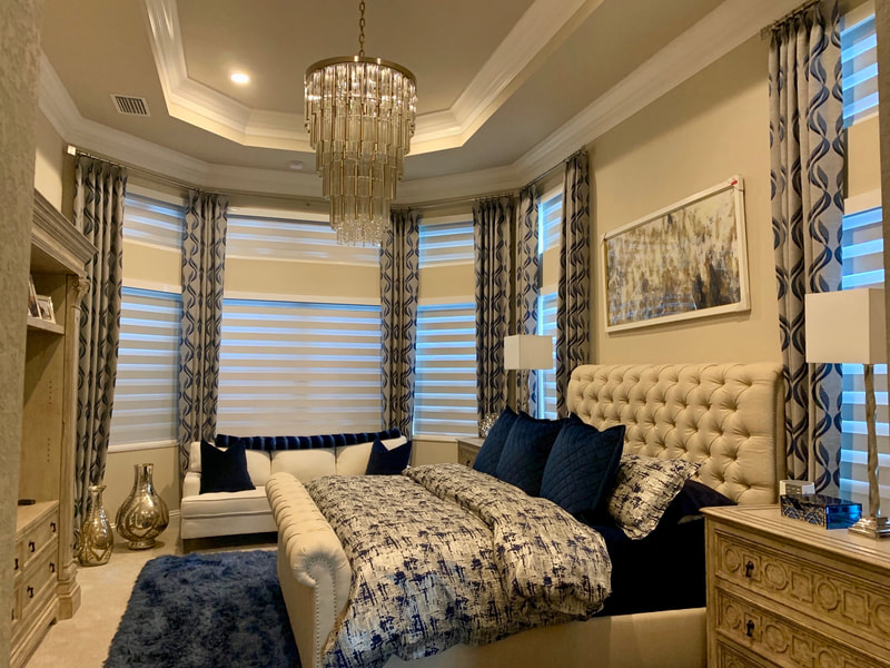 Motorized shades, drapes, bedding at home on Azalea Dr, Naples, FL