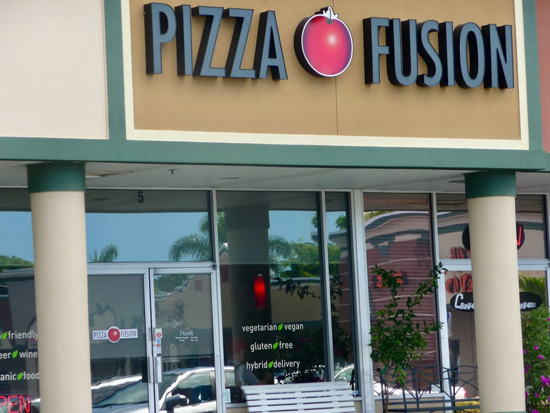 Solar control films on windows at Pizza Fusion in Ft. Myers